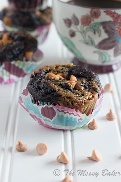 Dark Chocolate Peanut Butter Swirl Banana Muffins {www.themessybakerblog.com}-6500-2