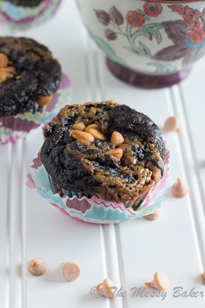 Dark Chocolate Peanut Butter Swirl Banana Muffins {www.themessybakerblog.com}-6501