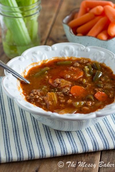 Ground Turkey & Veggie Soup {www.themessybakerblog.com}-6489