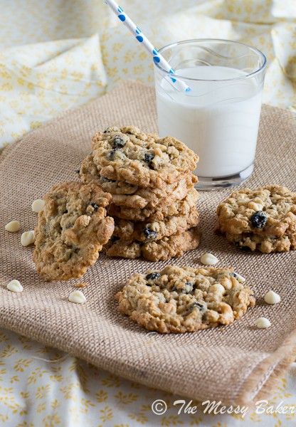 Blueberries & Cream Oatmeal Cookies | www.themessybakerblog.com-6592