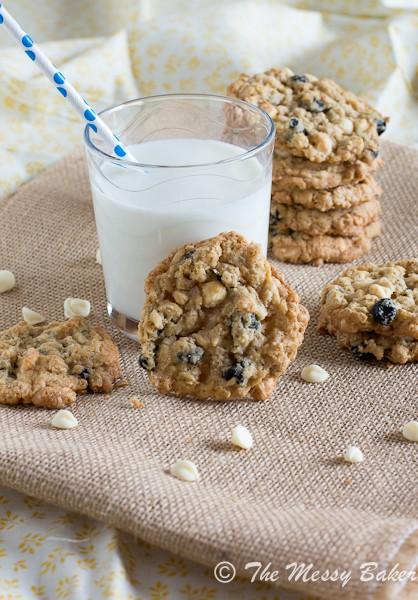 Blueberries & Cream Oatmeal Cookies | www.themessybakerblog.com-6600