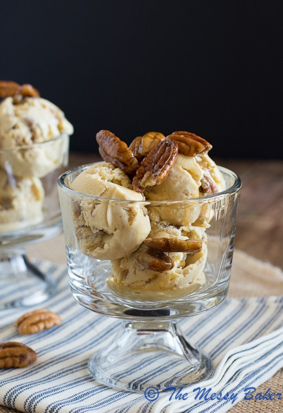 Brown Butter Butterscotch Pecan Ice Cream | www.themessybakerblog.com -6623