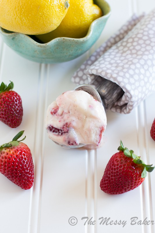 Fresh Strawberry Frozen Yogurt | www.themessybakerblog.com -7100