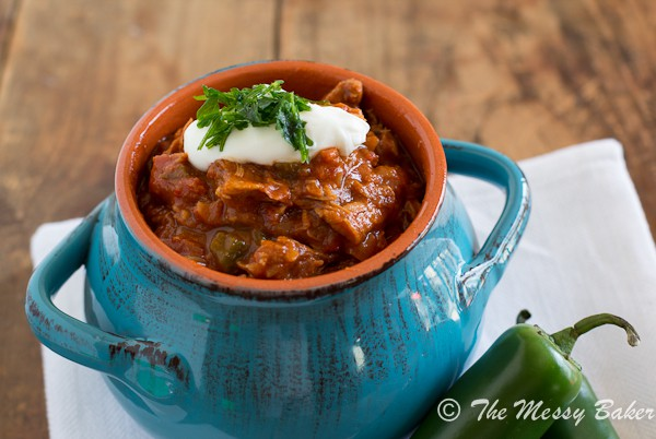 Smoky Pulled Pork Chili | www.themessybakerblog.com -6982