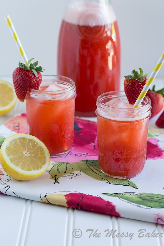 Strawberry Basil Lemonade www.themessybakerblog.com -7353