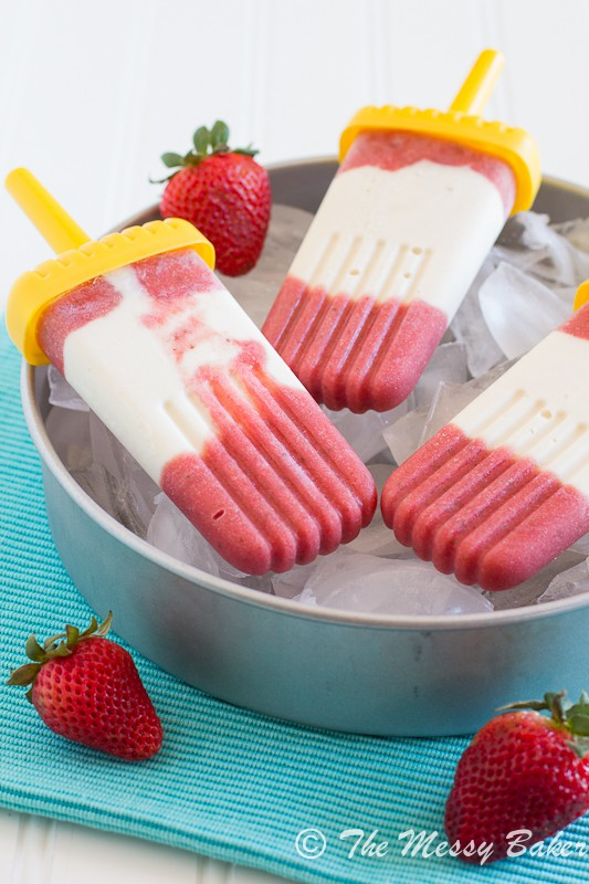 Strawberry Pineapple Cheesecake Popsicles | www.themessybakerblog.com-7401