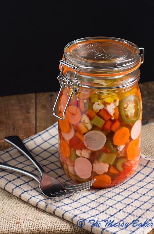Hot & Spicy Giardiniera | www.themessybakerblog.com -7781