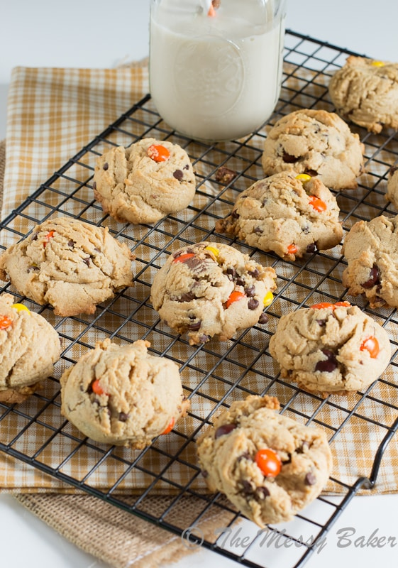 Soft Baked Triple Peanut Butter Cookies | www.themessybakerblog.com -7746