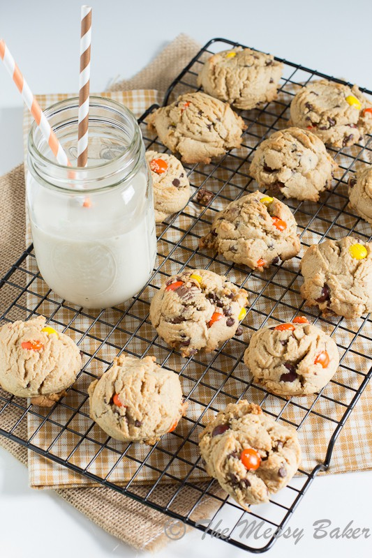 Soft Baked Triple Peanut Butter Cookies | www.themessybakerblog.com -7749