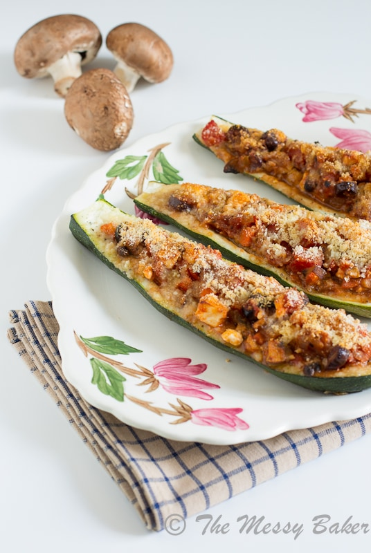 Vegetarian Greek Stuffed Zucchini | www.themessybakerblog.com-7769