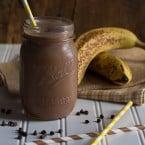 Skinny Chocolate Peanut Butter Banana Shake | www.themessybakerblog.com -8514