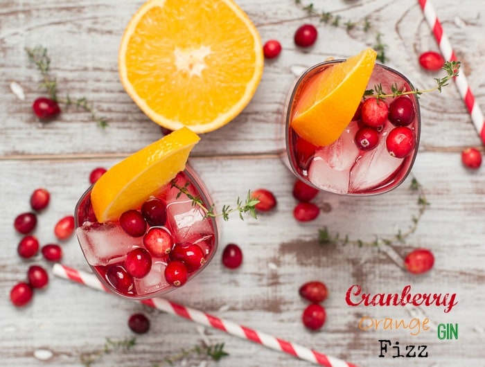 Cranberry Orange Gin Fizz with Thyme from The Messy Baker