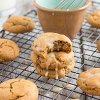 Soft Baked Ginger Cookies with Eggnog Glaze from The Messy Baker