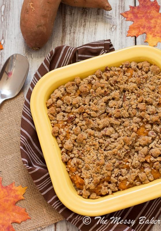 Pecan Streusel Topped Sweet Potato Casserole - One Sweet Mess