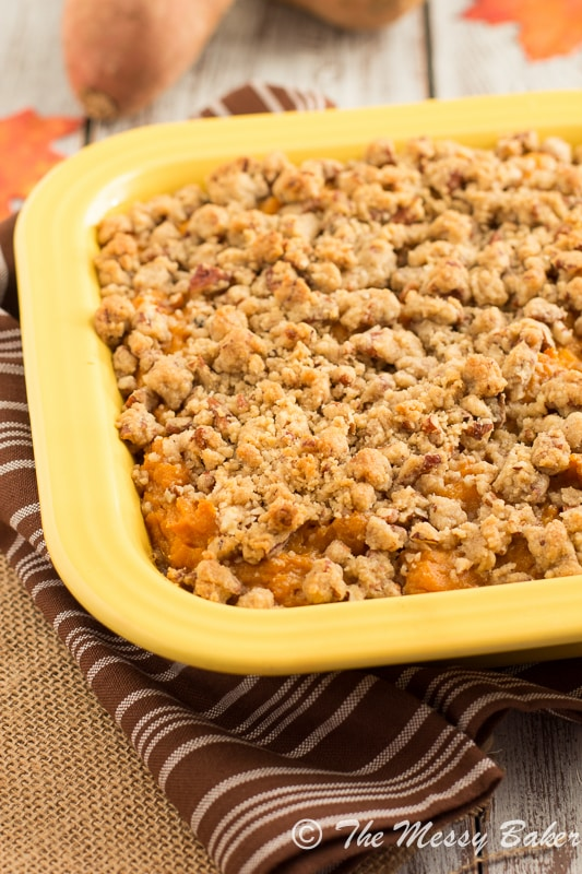 Pecan Streusel Topped Sweet Potato Casserole - One Sweet Mess