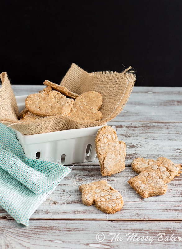 Peanut Butter Bacon Dog Biscuits from www.themessybakerblog.com