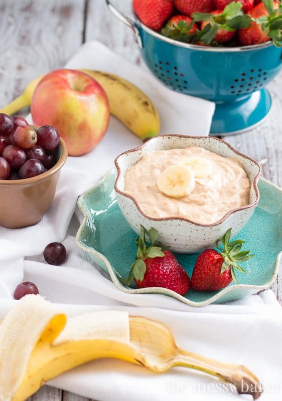 Peanut Butter Banana Dip {Healthy} | www.themessybakerblog.com