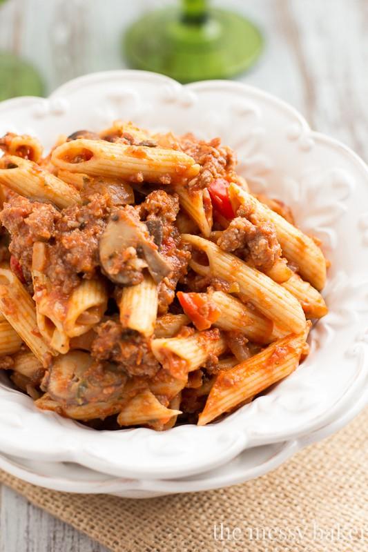 Sausage & Mushroom Ragu from www.themessybakerblog.com