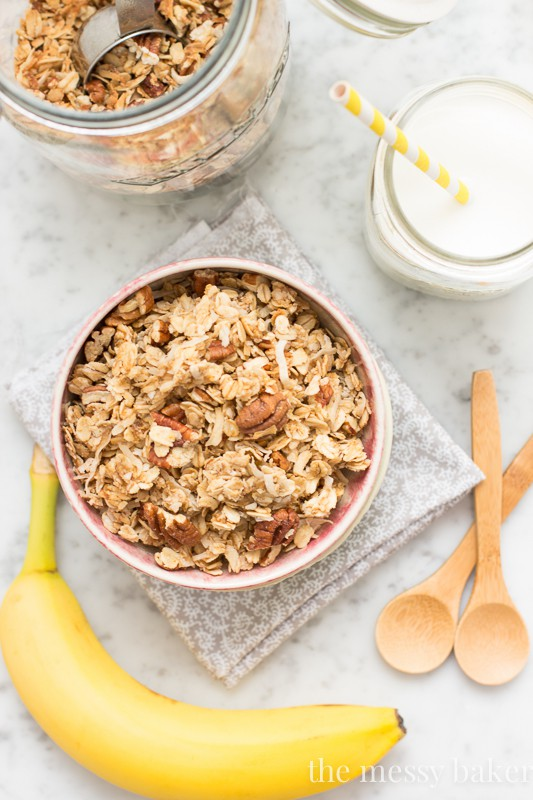 Banana Maple Granola | www.themessybakerblog.com