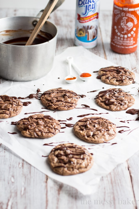 Chocolate Brownie Cookies with Sriracha Ganache | www.themessybakerblog.com