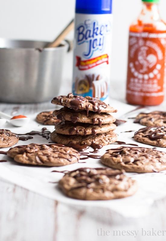 Chocolate Brownie Cookies with Sriracha Ganache | www.themessybakerblog.com