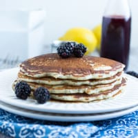 Lemon Poppy Seed Pancakes with Blackberry Maple Syrup | www.themessybakerblog.com