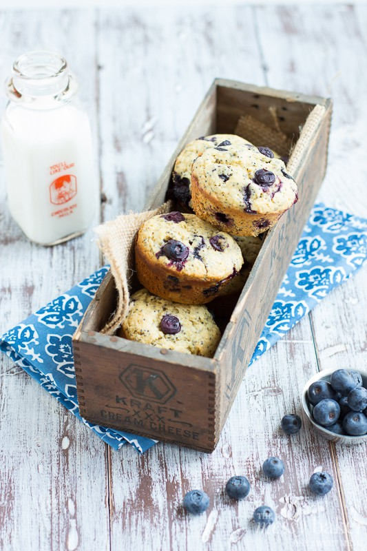Lemon, blueberries, and poppy seeds create one heck of a tasty muffin ...