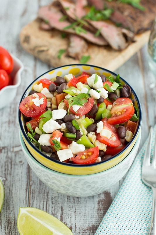 Grilled Corn & Black Bean Salad with Mesquite Flank Steak | www.themessybakerblog.com