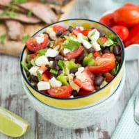 Grilled Corn & Black Bean Salad with Mesquite Flank Steak | www.themessybakerblog.com