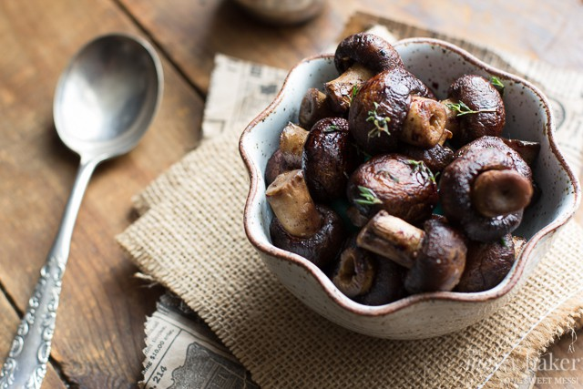 Grilled Mushrooms with Merlot Reduction | www.themessybakerblog.com