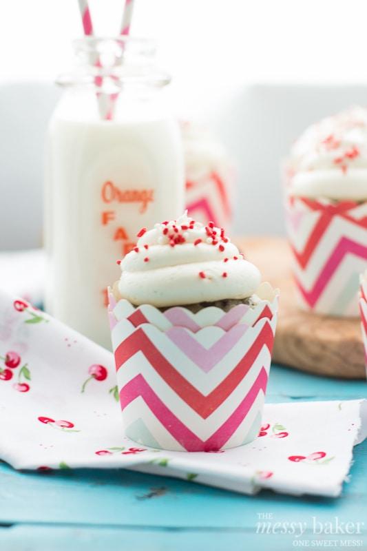 Cherry Chocolate Chip Cupcakes with Vanilla Bean Buttercream   www.themessybakerblog.com