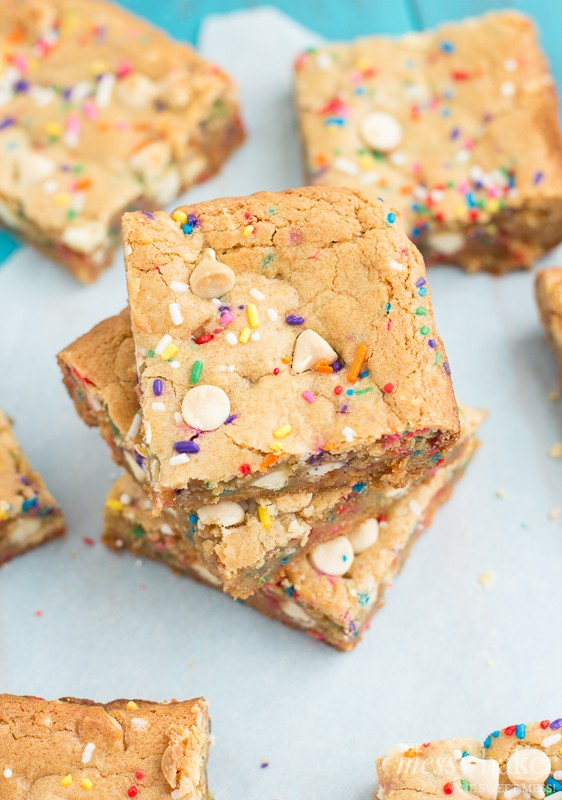 Malted Milk Funfetti Blondies | www.themessybakerblog.com