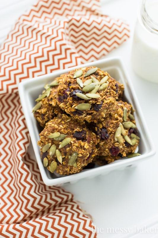 Pumpkin Banana Breakfast Cookies {Gluten-Free + Vegan} | www.themessybakerblog.com
