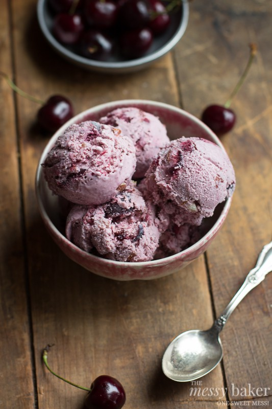 Toasted Almond & Cherry Ice Cream | www.themessybakerblog.com