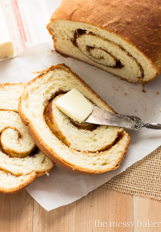 Cinnamon Swirl Loaves Bread Recipe | www.themessybakerblog.com