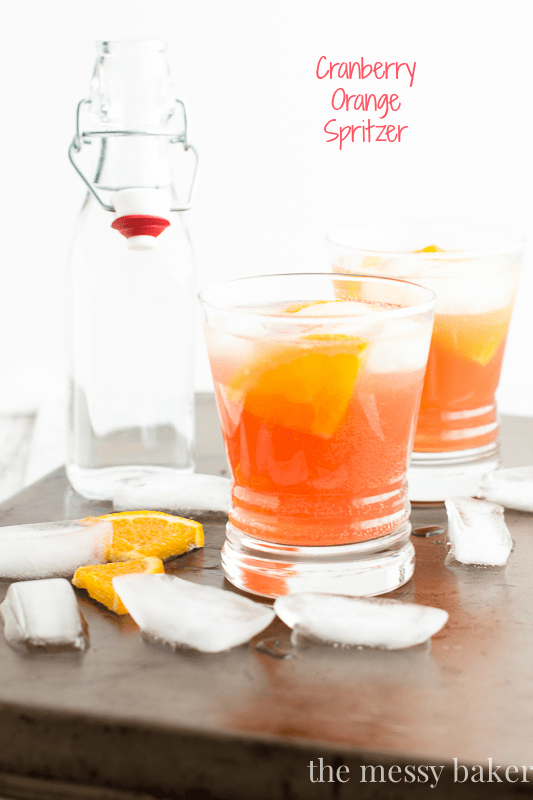 Cranberry Orange Spritzer Cocktail | www.themessybakerblog.com