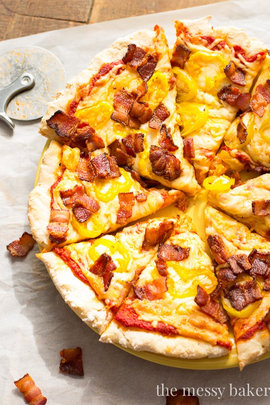 Gluten-Free Bacon Banana Pepper Pizza | www.themessybakerblog.com