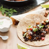 Sweet Potato & Black Bean Tacos with Chipotle Crema | www.themessybakerblog.com