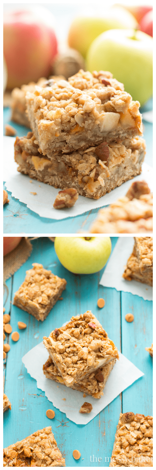 Butterscotch Apple Crumb Bars Recipe | www.themessybakerblog.com
