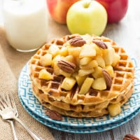 Gluten-Free Cinnamon Chip Waffles with Caramelized Apples | www.themessybakerblog.com