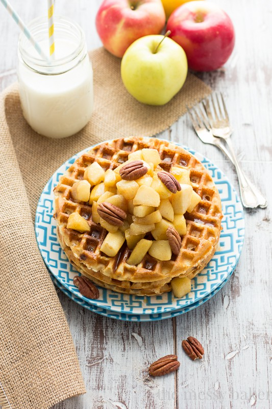 Gluten-Free Cinnamon Chip Waffles with Caramelized Apples - One Sweet ...