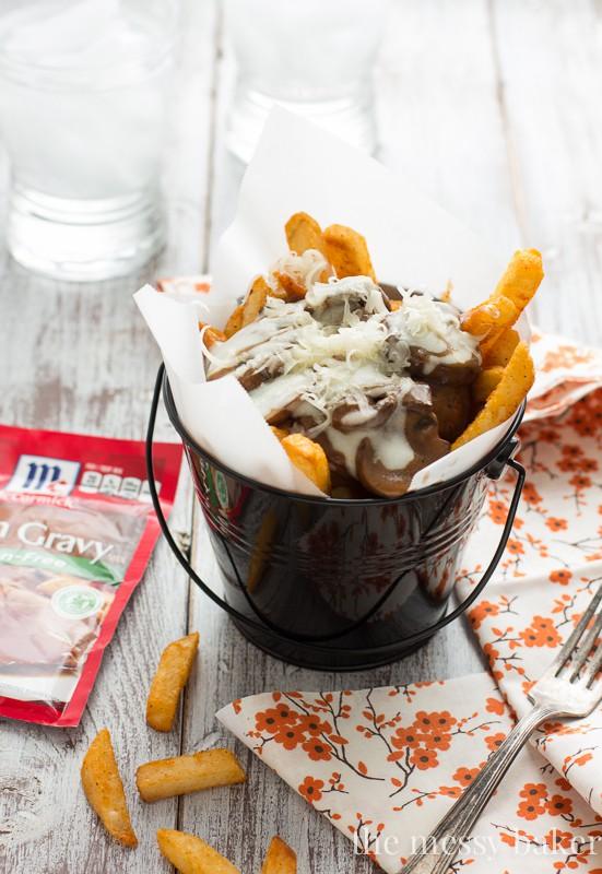 Gluten-Free Mushroom Swiss Poutine - One Sweet Mess