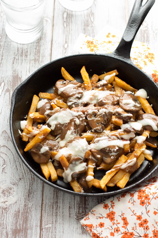 Gluten-Free Mushroom Swiss Poutine | www.themessybakerblog.com