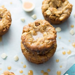Gluten-Free White Chocolate Pumpkin Cookie Cups with Apple Cider Caramel | www.themessybakerblog.com