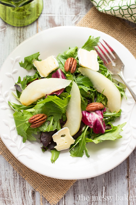 Poached Pear and Brie Salad with Balsamic Vinaigrette | www.themessybakerblog.com