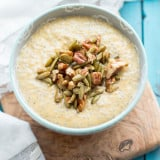 Pumpkin Chia Seed Pudding with Maple Pecans & Pumpkin Seeds | www.themessybakerblog.com | A healthy breakfast or snack inspired by the flavors of fall.