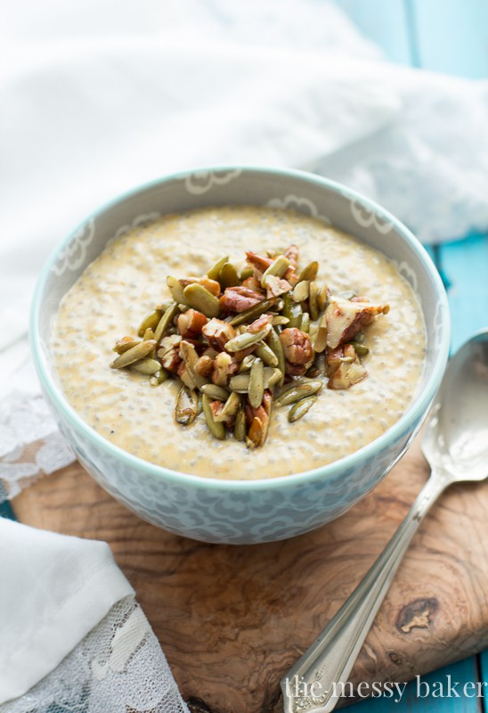 Gluten-Free Pumpkin Chia Seed Pudding with Maple Pecans & Pumpkin Seeds | www.themessybakerblog.com