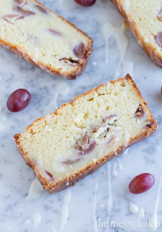 Ricotta Pound Cake with Grapes and a Lemon Glaze   www.themessybakerblog.com