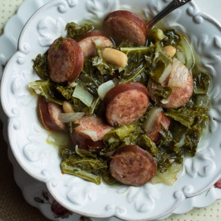 Slow Cooker Kielbasa Soup with Kale and White Beans | www.themessybakerblog.com