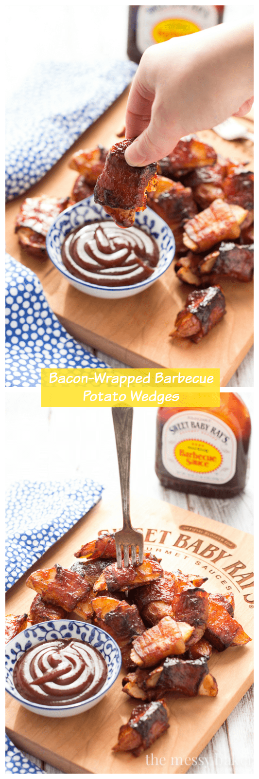 These crispy potato wedges wrapped in smoky bacon and glazed with barbecue sauce make the perfect appetizer for football, the holidays, and parties.   www.themessybakerblog.com